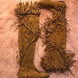 Sam Edelman brown suede fringe boots 6.5